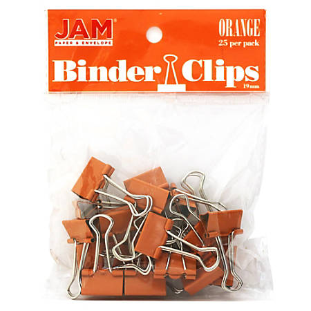 "JAM Paper® Designer Binder Clips, Small, 1/2"" Capacity, Orange, Pack Of 25 Clips"