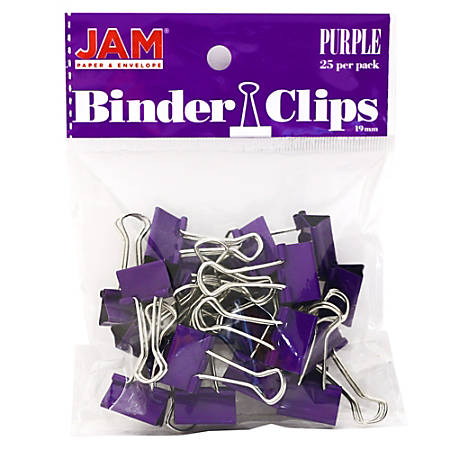 "JAM Paper® Designer Binder Clips, Small, 1/2"" Capacity, Purple, Pack Of 25 Clips"