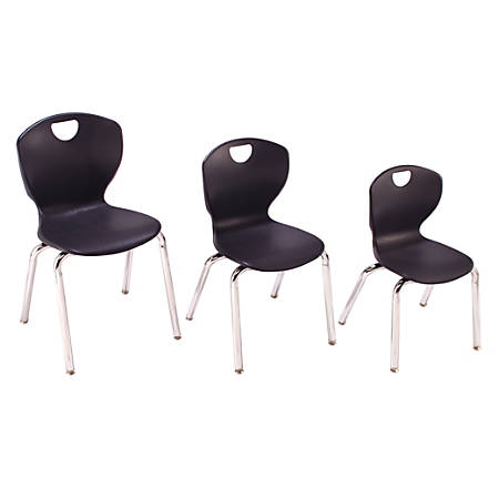 "Scholar Craft Ovation Student Stacking Chairs, 18""H, Black/Chrome, Set Of 4"