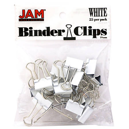 "JAM Paper® Designer Binder Clips, Small, 1/2"" Capacity, White, Pack Of 25 Clips"