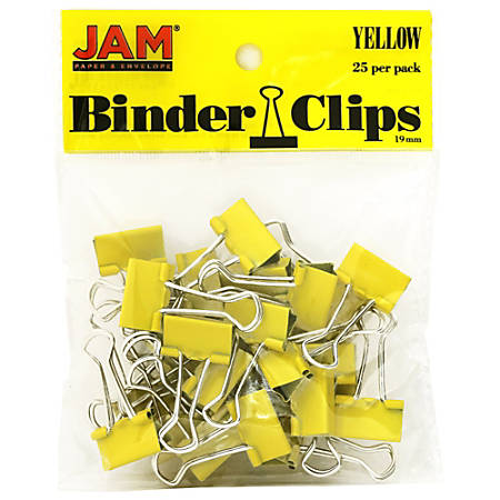 """JAM Paper® Designer Binder Clips, Large, 1"""" Capacity, Yellow, Pack Of 25 Clips"""