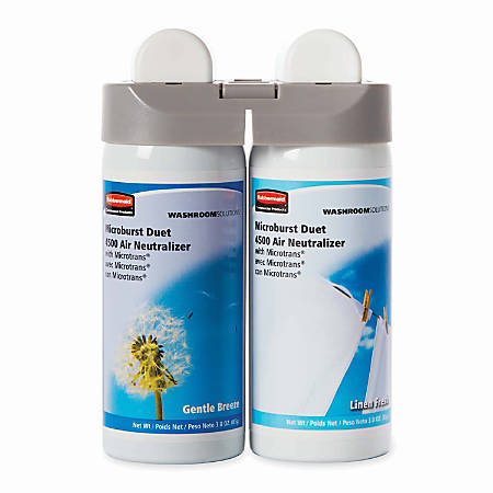 Rubbermaid® Microburst® Duet Refills, Gentle Breeze/Linen Fresh, Carton Of 4