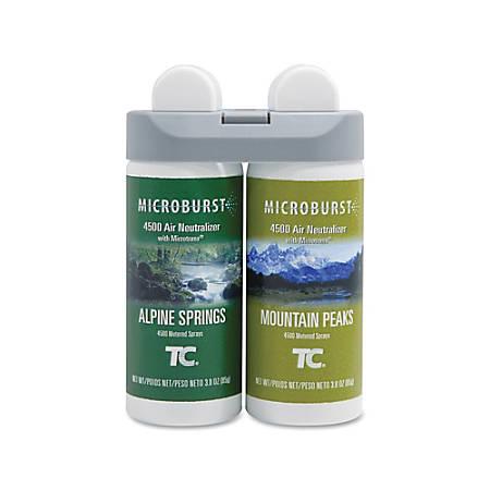 Rubbermaid® Microburst® Duet Refills, Alpine Sping/Mountain Peaks, Carton Of 4