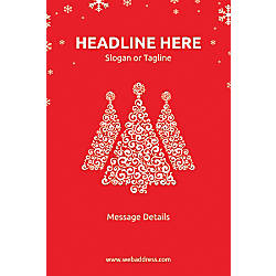 Adhesive Sign Red Christmas Vertical