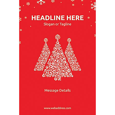 Adhesive Sign, Red Christmas, Vertical