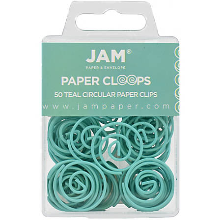 """JAM Paper® Circular Paper Clips, 1"""", Teal, Box Of 50 Clips"""