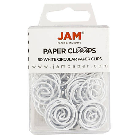 """JAM Paper® Circular Paper Clips, 1"""", White, Box Of 50 Clips"""