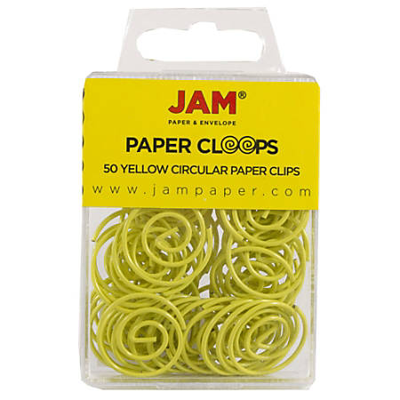 """JAM Paper® Circular Paper Clips, 1"""", Yellow, Box Of 50 Clips"""