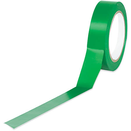 "BOX Packaging Solid Vinyl Safety Tape, 3"" Core, 1"" x 36 Yd., Green, Case Of 48"