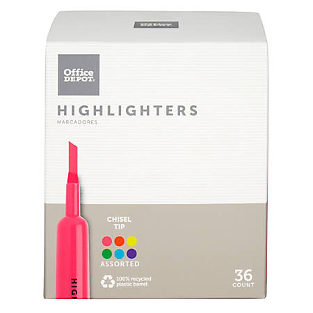 Office Depot® Brand Chisel-Tip Highlighter, 100% Recycled Plastic, Assorted Fluorescent Colors, Pack Of 36