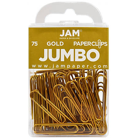 "JAM Paper® Jumbo Paper Clips, 2"", Gold, Pack Of 75 Paper Clips"