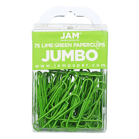 """JAM Paper® Jumbo Paper Clips, 2"""", Lime Green, Pack Of 75 Paper Clips"""