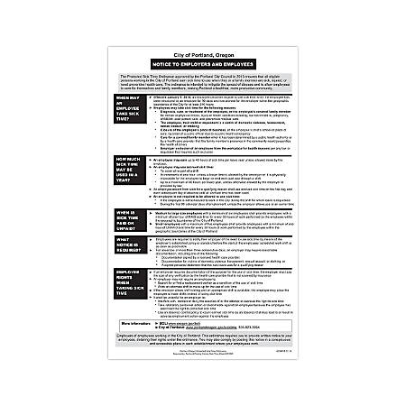 """ComplyRight City & County Specialty Posters, English, Portland, Protected Sick Time, 8 1/2"""" x 14"""""""