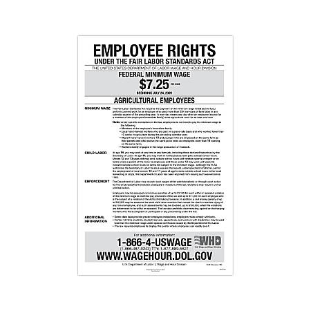 """ComplyRight Federal Specialty Posters, English, Agricultural Minimum Wage, 11"""" x 17"""""""
