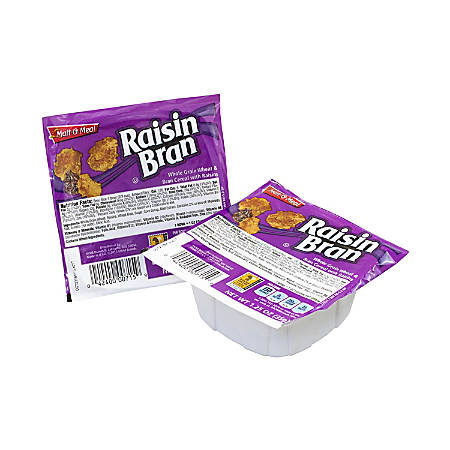 Malt-O-Meal Raisin Bran Cereal Bowls, 1 Oz, Pack Of 96 Boxes