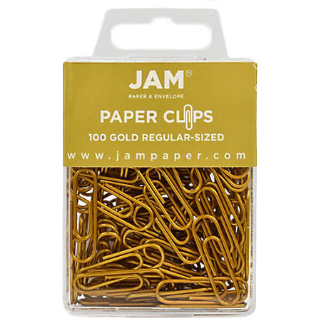 "JAM Paper® Paper Clips, 1-1/4"", 25-Sheet Capacity, Gold, Pack Of 100 Paper Clips"