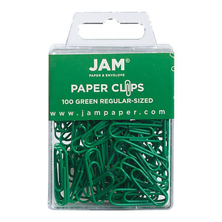 "JAM Paper® Paper Clips, 1-1/4"", 25-Sheet Capacity, Green, Pack Of 100 Paper Clips"