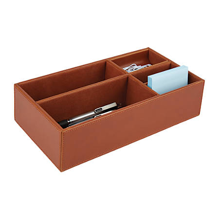 "Realspace® Faux Leather Desktop Storage Box, 10 1/8""H x 5 9/16""W x 2 11/16""D, Tan"