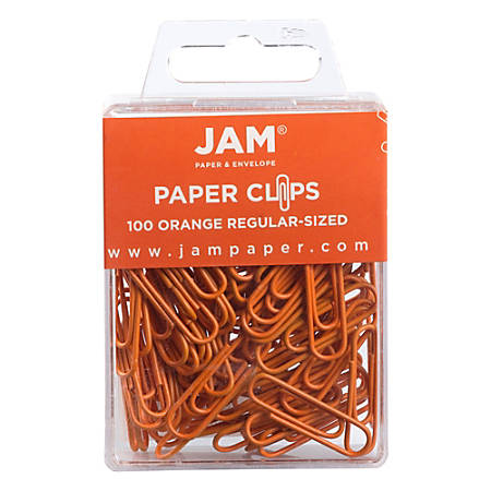 "JAM Paper® Paper Clips, 1-1/4"", 25-Sheet Capacity, Orange, Pack Of 100 Paper Clips"