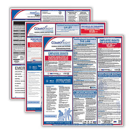 ComplyRight Federal/State Labor Law Posters And 1-Year Subscription Service, Bilingual/English, California