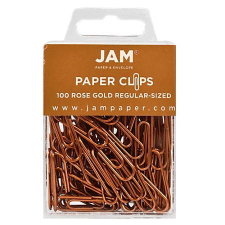 "JAM Paper® Paper Clips, 1-1/4"", 25-Sheet Capacity, Rose Gold, Pack Of 100 Paper Clips"