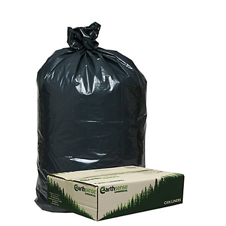 "Webster® EarthSense® 75% Recycled Star bottom Commercial Can Liners, 33 Gallons, 0.90 Mil Thick, 32 1/2"" x 40"", Black, Box Of 80"
