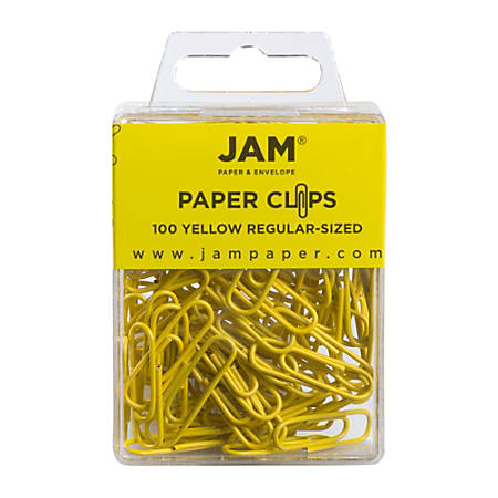 """JAM Paper® Paper Clips, 1-1/4"""", 25-Sheet Capacity, Yellow, Pack Of 100 Paper Clips"""