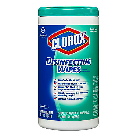 clorox disinfecting wipes fresh scent pack of 75 wipes office depot
