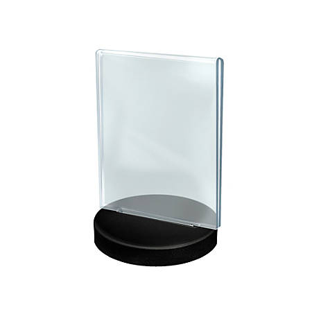 """Azar Displays Acrylic Frames On Round Bases, Vertical, 5 1/2"""" x 8 1/2"""", Clear/Black, Pack Of 10"""