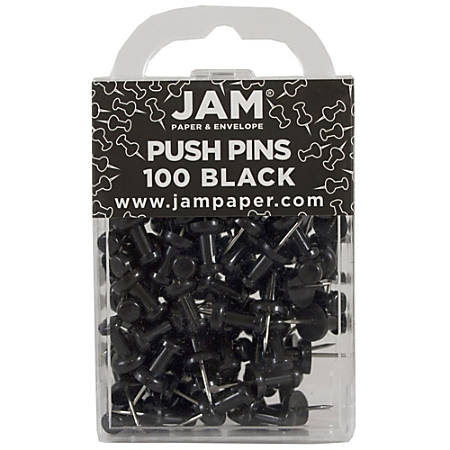 "JAM Paper® Pushpins, 1/2"", Black, Pack Of 100 Pushpins"
