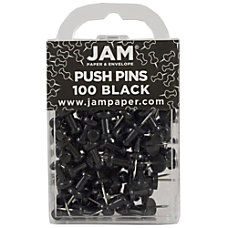 JAM Paper Pushpins 12 Black Pack