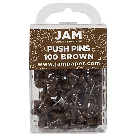 "JAM Paper® Pushpins, 1/2"", Brown, Pack Of 100 Pushpins"