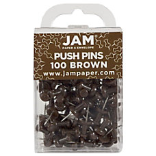 JAM Paper Pushpins 12 Brown Pack