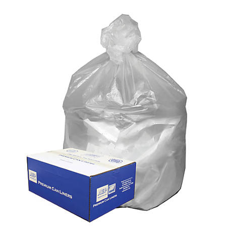 "Webster Ultra Plus™ High-Density Trash Can Liners, 31-33 Gallons, 11 Mic Thick, 33"" x 40"", Box Of 100"