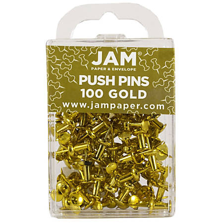 "JAM Paper® Pushpins, 1/2"", Gold, Pack Of 100 Pushpins"