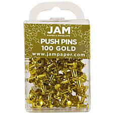 JAM Paper Pushpins 12 Gold Pack