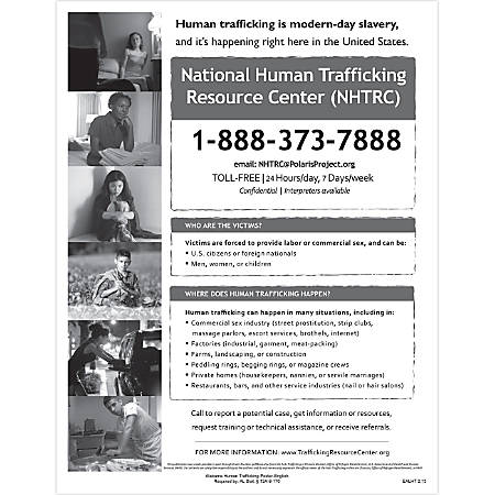 """ComplyRight State Specialty Poster, English, Alabama, Human Trafficking, 8 1/2"""" x 11"""""""