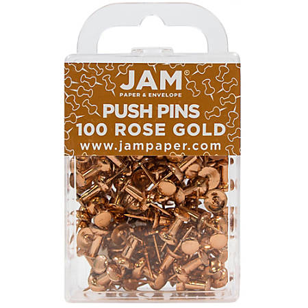 "JAM Paper® Pushpins, 1/2"", Rose Gold, Pack Of 100 Pushpins"