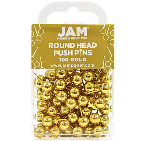"""JAM Paper® Pushpins, Round, 1/2"""", Rose Gold, Pack Of 100 Pushpins"""