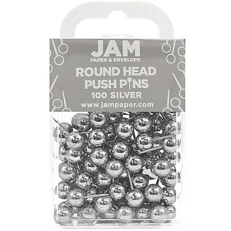 """JAM Paper® Pushpins, Round, 1/2"""", Silver, Pack Of 100 Pushpins"""