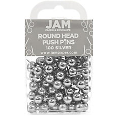 JAM Paper Pushpins Round 12 Silver