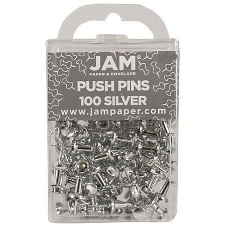 "JAM Paper® Pushpins, 1/2"", Silver, Pack Of 100 Pushpins"
