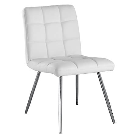 Monarch Specialties Emilia Dining Chairs, White/Chrome, Set Of 2 Chairs