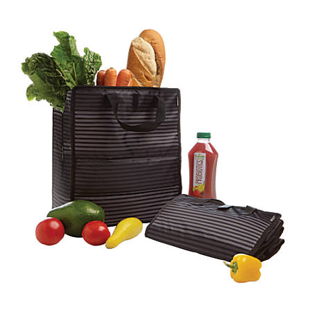 "GNBI Cooler Shopping Bag, 14 1/2""H x 7 1/2""W x 12 1/2""D, Gray Stripe"