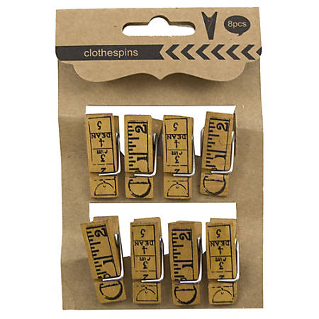 JAM Paper® Wood Clip Clothespins, Ruler, Brown, Pack Of 8 Clothespins