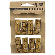 JAM Paper Wood Clip Clothespins Ruler