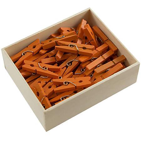 "JAM Paper® Wood Clip Clothespins, 1-1/8"", Orange, Box Of 50 Clothespins"