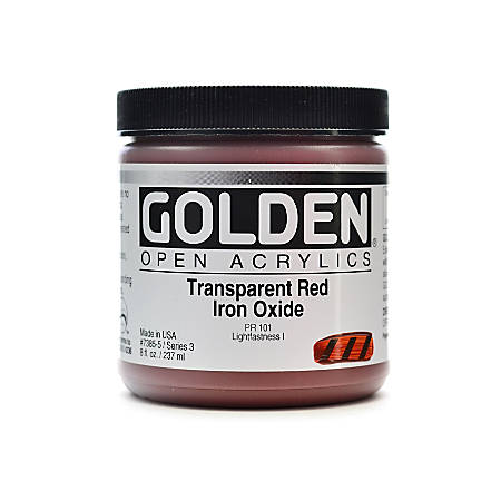 Golden OPEN Acrylic Paint, 8 Oz Jar, Transparent Red Iron Oxide