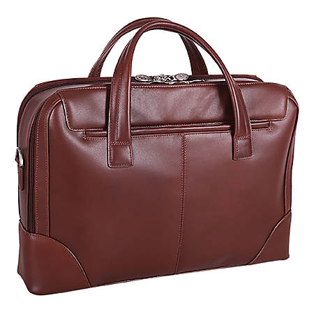 """McKlein Harpswell Dual Compartment Briefcase with 17"""" Laptop Pocket, Brown"""