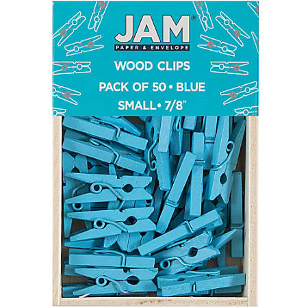 "JAM Paper® Wood Clip Clothespins, 7/8"", Blue, Box Of 50 Clothespins"